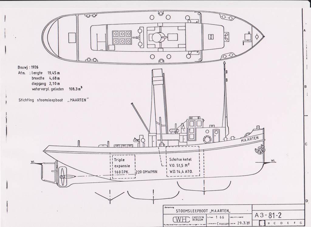 Bouwtekening Stoomsleepboot Maarten